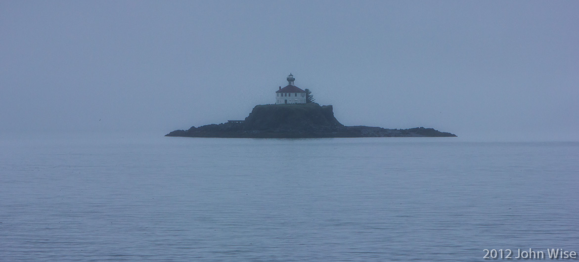 Passing a lighthouse on the Inside Passage after leaving Juneau, Alaska on the way to Haines