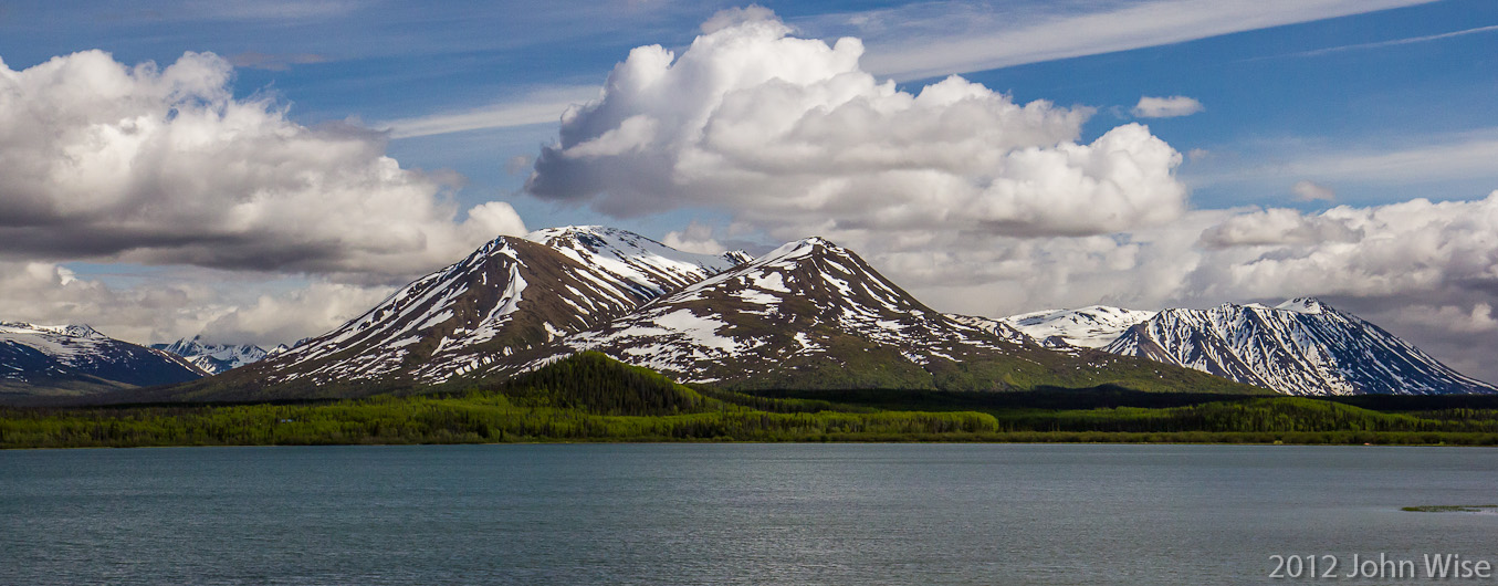 Roadside mountain and lake view off Highway 3 in the Yukon Territory of Canada
