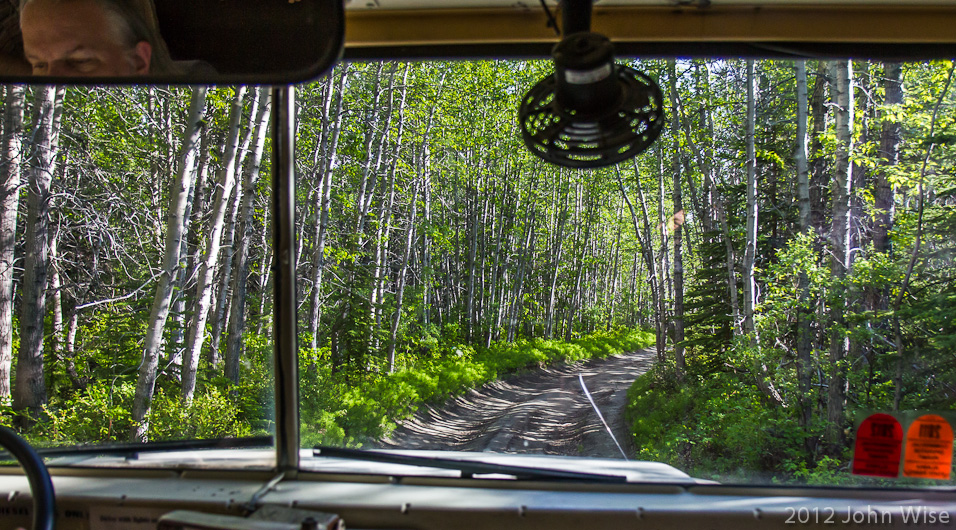 Off-roading in a school bus requires a full 90 minutes to travel but 5 miles on this poorly maintained road to the Alsek River