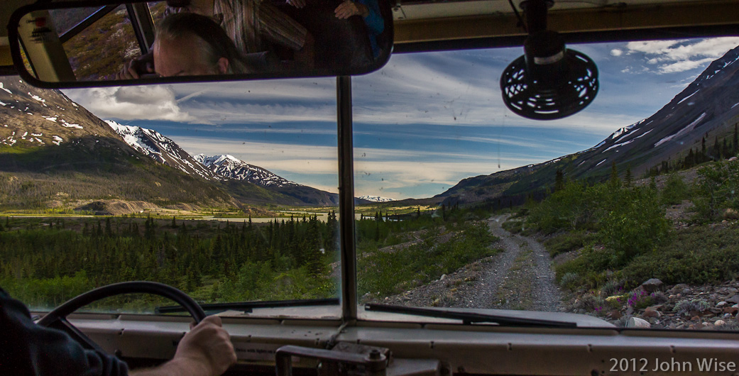 On the way to our campsite down a poorly maintained road in the Yukon