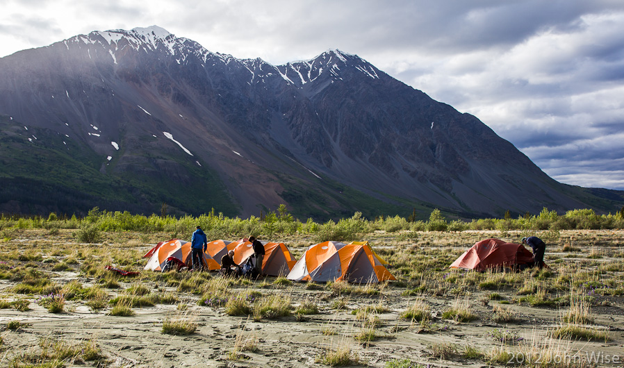 Setting up camp on the Alsek River in the Yukon, Canada