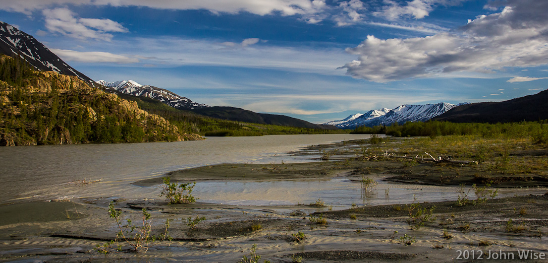 Looking downstream on the Alsek River in the Yukon, Canada