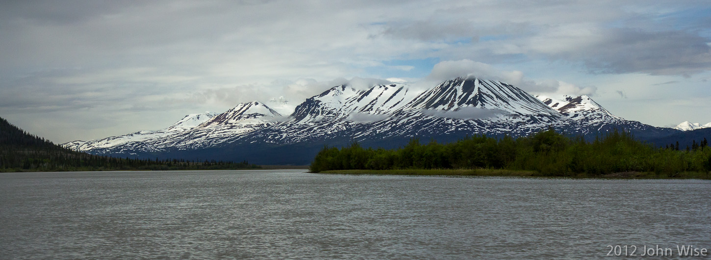 Looking down the Alsek River in Yukon, Canada