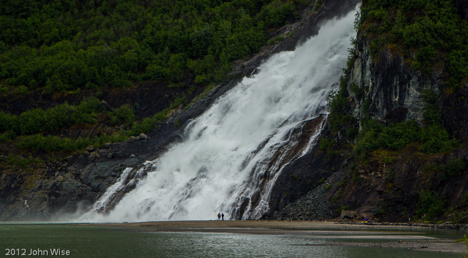 Waterfall next to Mendenhall Glacier