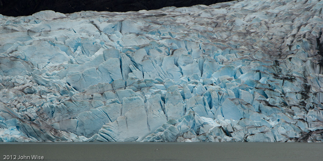 Closeup of the face of Mendenhall Glacier in Juneau, Alaska
