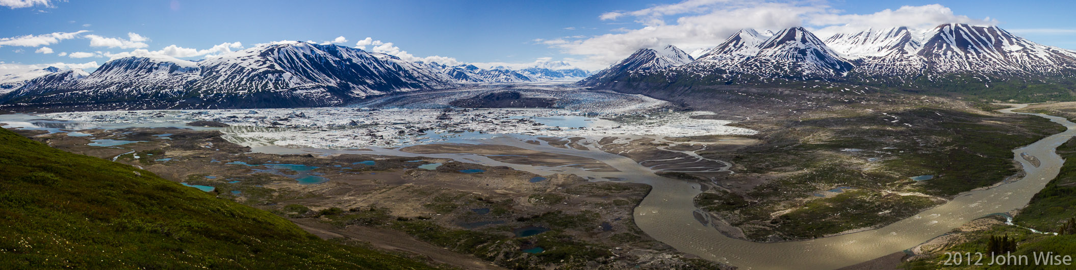 The view of Lowell Glacier and its lake from Goatherd Mountain in Kluane National Park Yukon, Canada