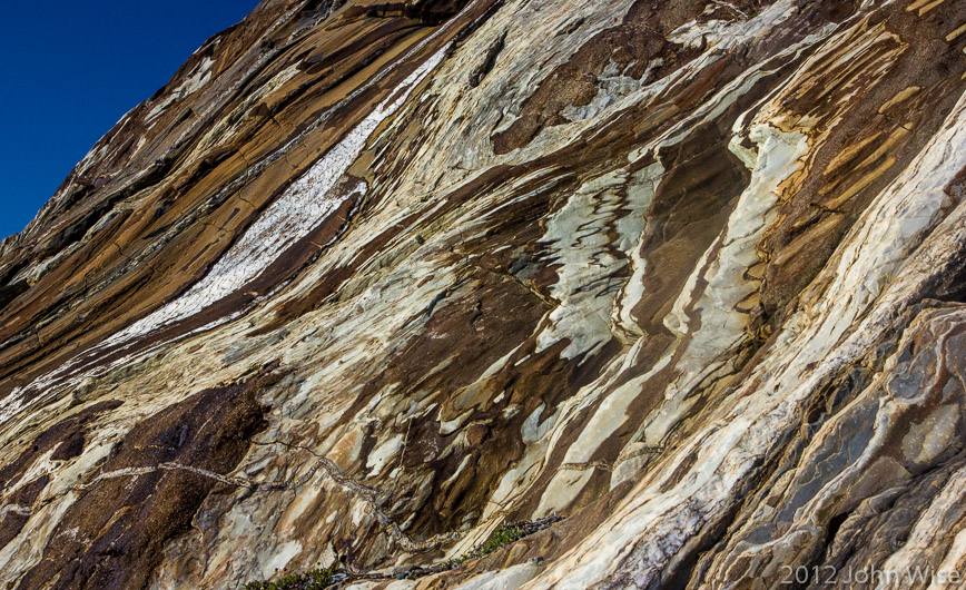 Swirls of rock patterns on Goatherd Mountain in Kluane National Park Yukon, Canada