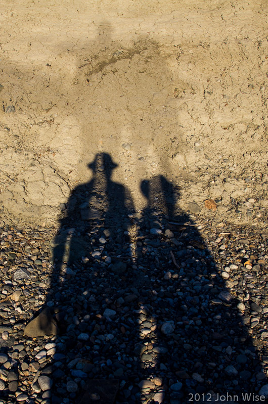 Our shadows, except strangely enough, our shadows have shadows. On Lowell Lake in Kluane National Park Yukon, Canada
