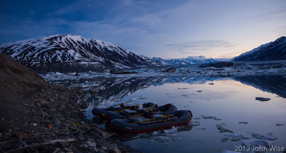 Shortly before midnight on Lowell Lake in Kluane National Park Yukon, Canada